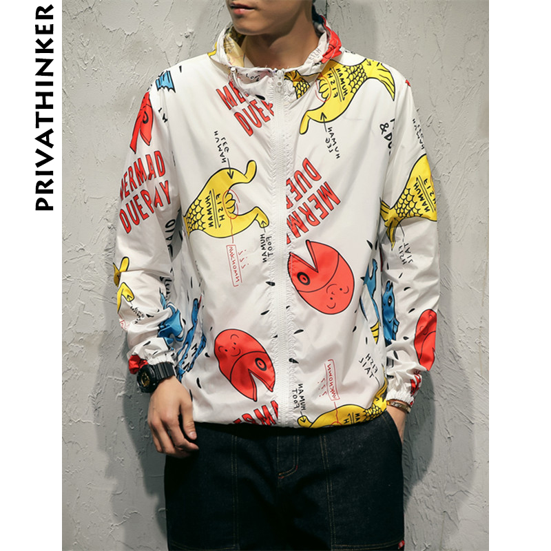 Privathinker 2018 Summer Rashguard Men Print Jacket Coat Male Hip Hop Streetwear Sunscreen Mens Harajuku Sun Protection Clothing