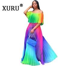 XURU Summer New Gradient Chiffon Dress Pleated Sexy Bohemian Beach Long Splicing Tie Dye Print