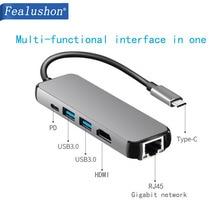 USB C док-станция для ноутбука USB 3,0 HDMI RJ45 Gigabit PD Fealushon для MacBook samsung Galaxy S9/S8/S8+ type C usb-хаб