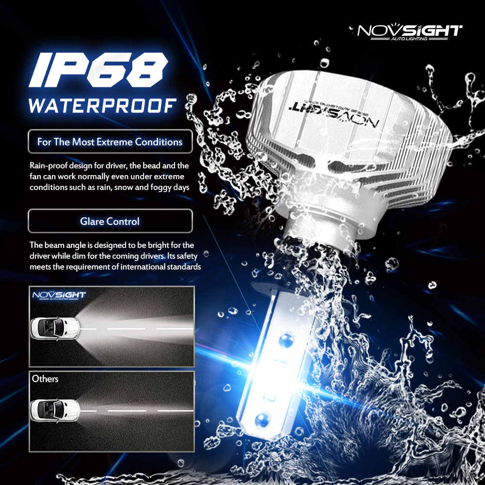 Novsight 2Pcs h3 led Car Headlight Bulb h1 H4 H7 H11 HB4 9005 9006 10000LM 50W High Low Beam Auto Bulb Headlamp 12V 24V for auto