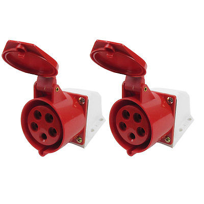 32A 4P+E IEC309-2 AC 220-380V Industrial Panel Mount Socket Connector Red White