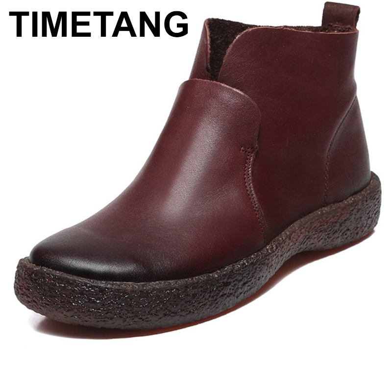 TIMETANG Ankle Boots Women Leather Shoes Fashion Brand Casual Booties Design Handmade Genuine Leather Women Boots Female 2017 genuine leather women ranger boots famous designer motorcycle fashion work brand shoes zip front design ankle short booties