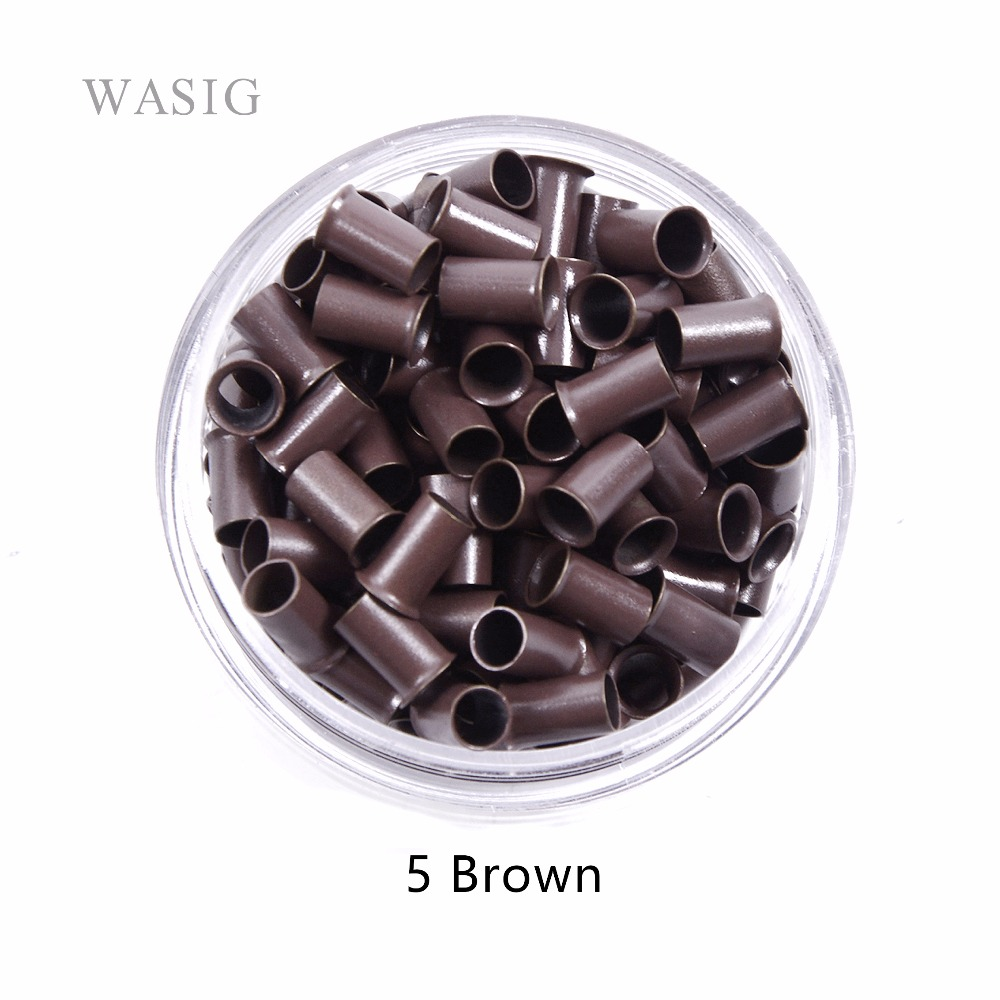 3.4mm 1000pcs Long Euro Lock Flared Flaring Micro Copper Tube Rings Beads Links Human Hair Extensions Tools 5# Brown