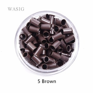 3.4mm 1000pcs Long Euro Lock Flared Flaring Micro Copper Tube Rings Beads Links Human Hair Extensions tools 5# brown(China)
