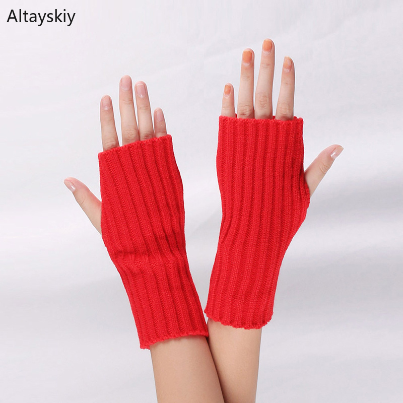 Arm Warmers Women Solid Striped Knitted Half-fingered Womens Mitt Japanese Style All-match Simple Soft Trendy Kawaii Leisure New