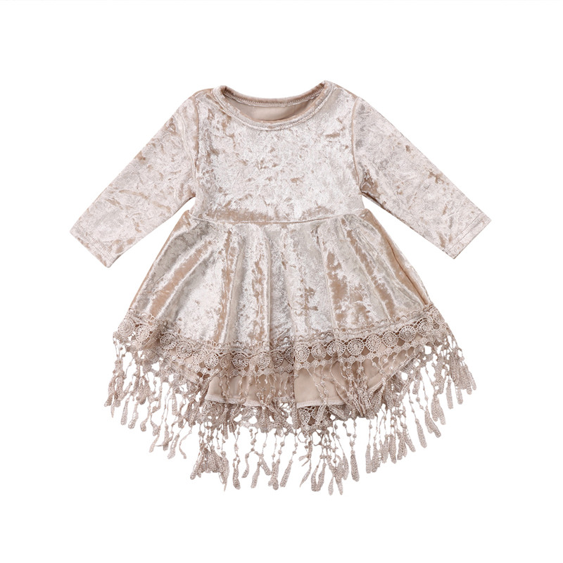 CANIS Infant Hot Sale Baby Cute Clothes Long Flower Girl Dress Velvet Tassel Princess Baby Party Pageant Gown Formal Dress цена