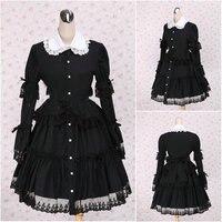 V 1109 черный с длинными рукавами Готическая Лолита платье/викторианской платье коктейльное платье/костюм для Хэллоуина US6 26 XS 6XL