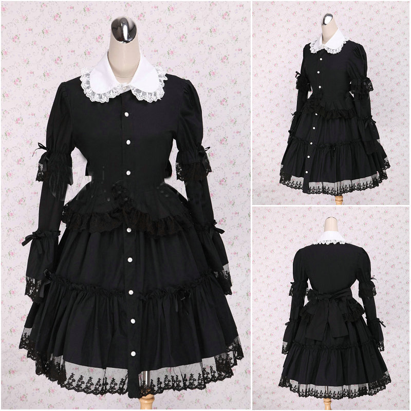 V 1109 Black long sleeve Gothic Lolita font b Dress b font victorian font b dress