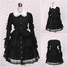 V-1109 Schwarz langhülse Gothic Lolita Kleid/viktorianischen kleid Cocktailkleid/halloween-kostüm US6-26 XS-6XL