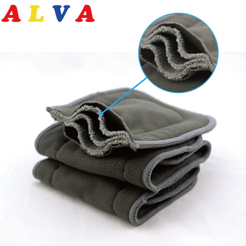 10pcs Alva Baby High Absorbent Organic 5 Layers Charcoal Bamboo Inserts-in Baby Nappies from Mother & Kids