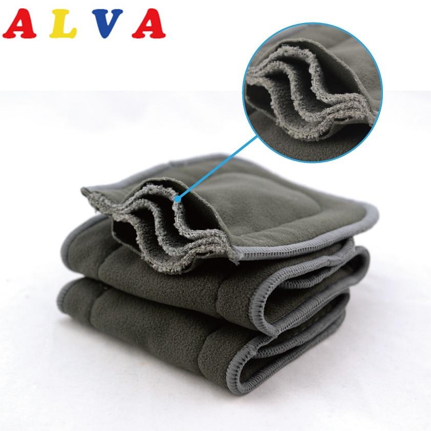 Inserções de bambu absorvente, inserções de bambu em 5 camadas de carvão vegetal com alta absorção, 10 peças