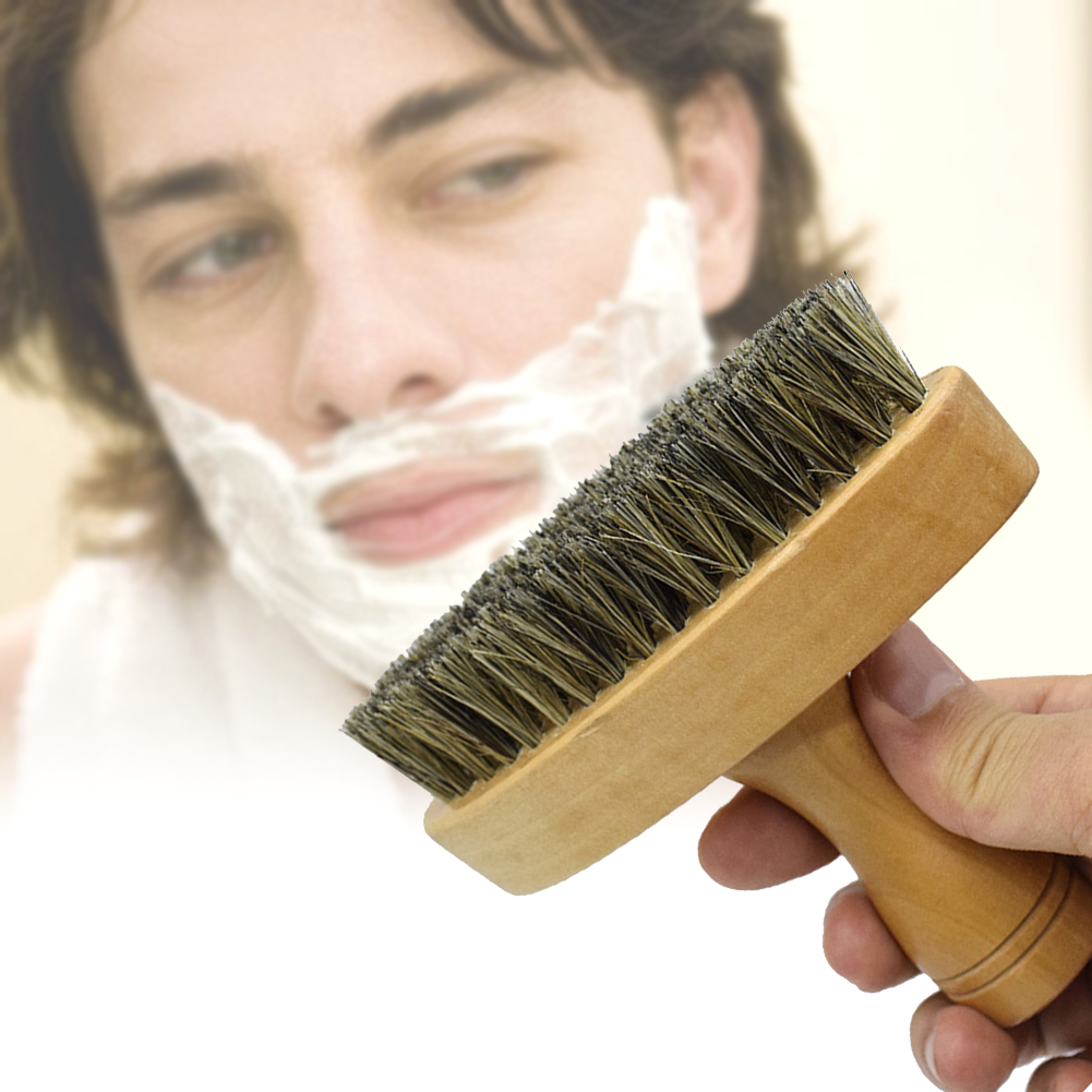 Men Mustache Shaping Comb Home Travel Portable Soft Salon Shaving Anti-skid Facial Cleaning Beard Brush Wood Handle Barber Tool