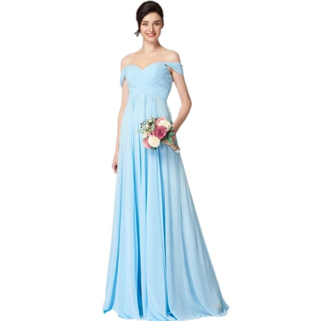 Elegante Baby Blue Lange Billig Brautjungfer Kleid 2017 Einzigartige Hülse  Designer Chiffon Geraffte Hochzeit Prom Abendkleider in Elegante Baby Blue  ...