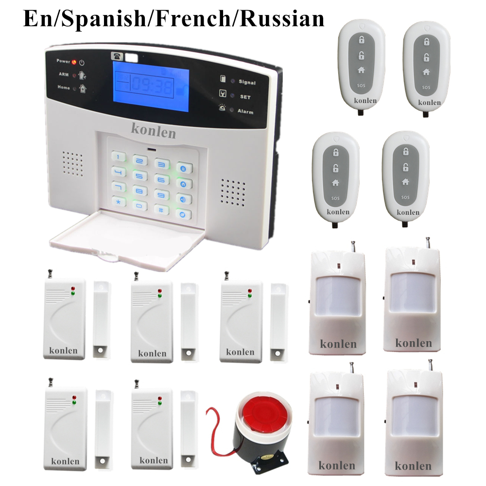 wired wireless LCD gsm alarm system russian spanish french voice ...