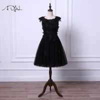 ADLN Little Black Dresses Vestido de Coctel Elegant Scoop Tulle A line Ivory Cocktail Dress with Flowers Short Party Gown