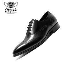 DESAI New Mens Handmade Genuine Leather Shoes Top Quality Business Dress England Pointed Toe Formal Oxfords Shoe