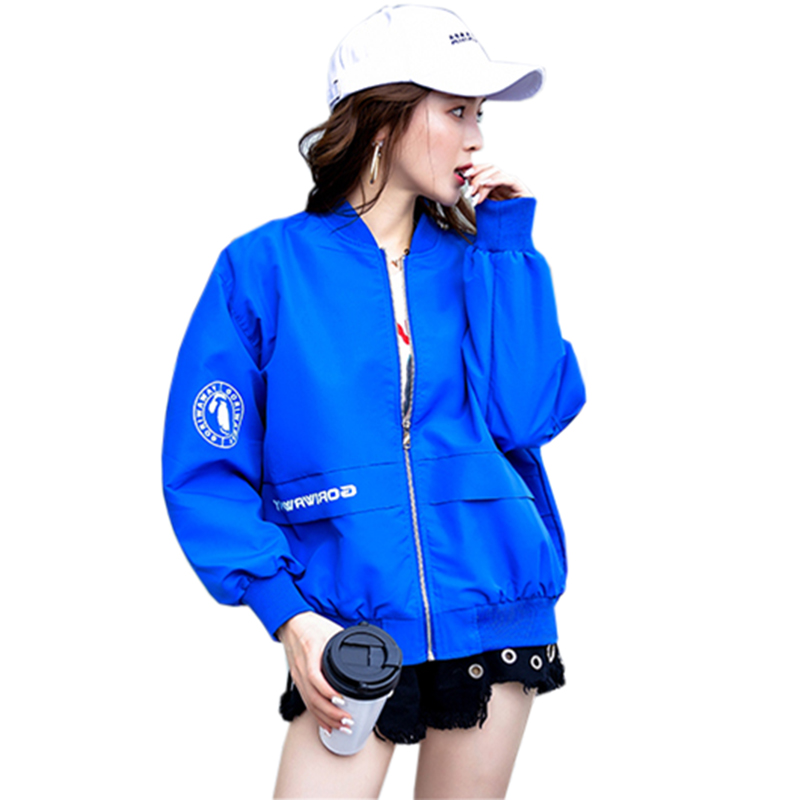 Baseball   Jackets   Women 2018 New Fashion Letter Women's   Basic     Jacket   Casual Windbreaker Female Outwear Women Coats FP1579