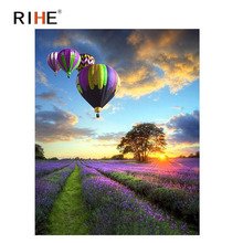 RIHE Dusk Flower Field Diy Painting By Numbers Abstract Balloon Oil On Canvas Cuadros Decoracion Acrylic Wall Picture