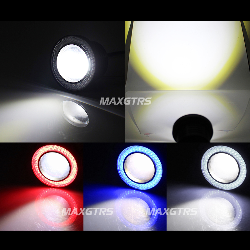 2x64/76/89 мм автомобиль универсальный Водонепроницаемый COB светодиодный Ангельские глазки DRL Вождения LED светильник Габаритные огни противотуманных фар, белого/Красного/голубого цветов