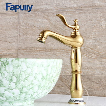 Fapully Designed Basin Gold Bathroom Faucet Ceramic Base Single Handle Deck Mounted Tall High Mixer Water Tap 555-22G