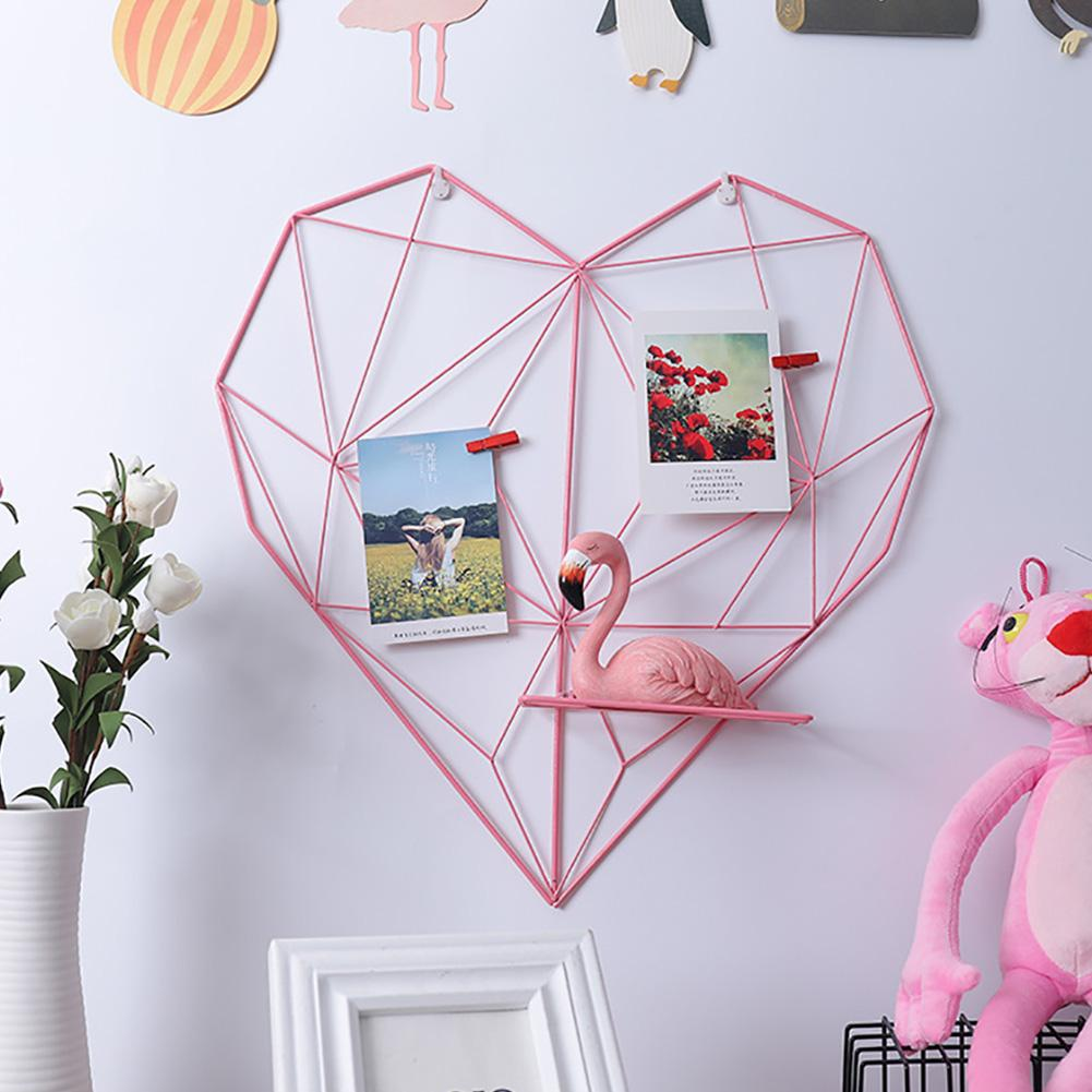 Multifunctional Iron Heart-shaped Photo Grid Frame Rack Wall Decoration Home Bedroom DIY Storage Rack Holder