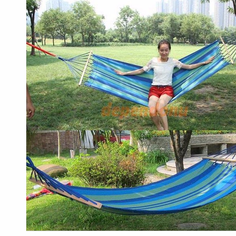 Canvas-Double-Spreader-Bar-Hammock-Outdoor-Camping-Swing-Hanging-Bed-Blue-Free-Shipping