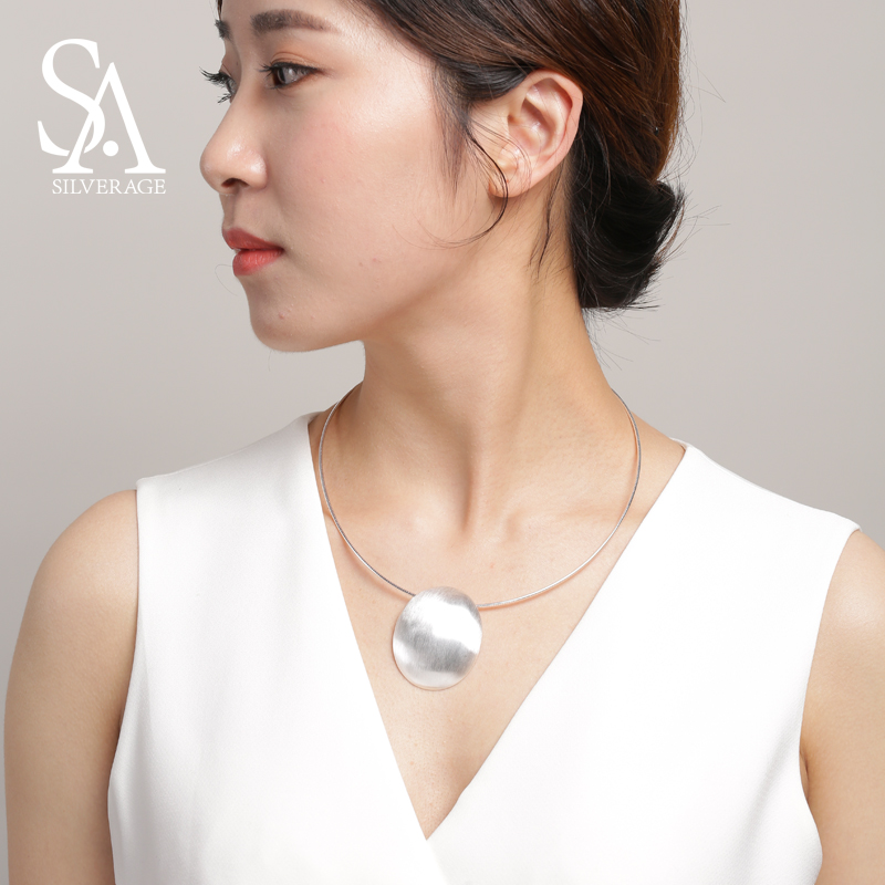 SA SILVERAGE 925 plata esterlina Oval gargantilla collar Chocker collares fina joyería para las mujeres collier femme 8,81g/35mm * 44mm - 3