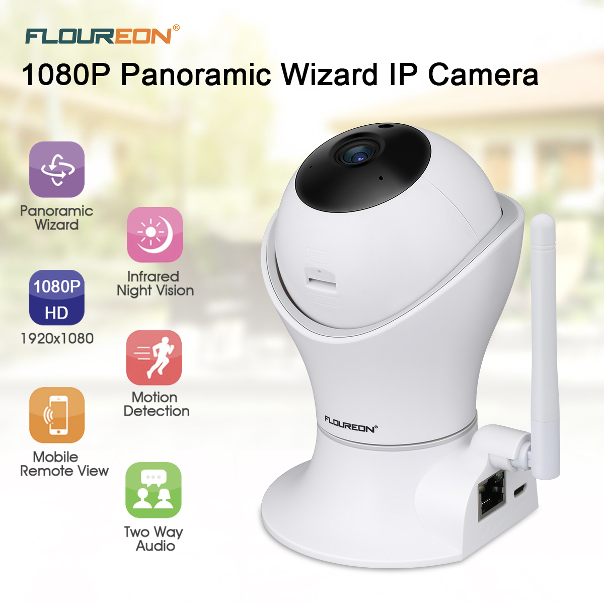 US $35 19 20% OFF|FLOUREON 1080P Ip Camera H 264 Wifi 2 0MP Wireless CCTV  Torch Two Way Audio Security Camera With TF Slot Q7-in Surveillance Cameras