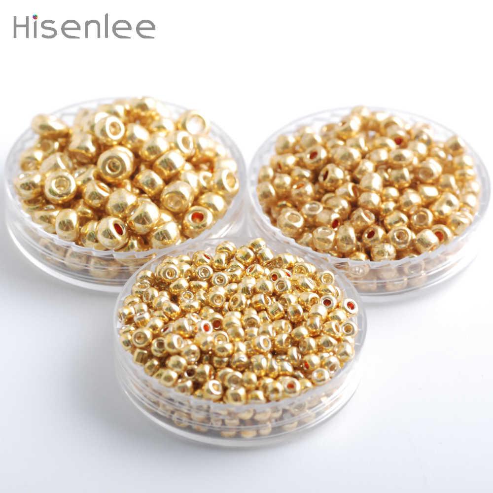 Hisenlee Warna Emas 50 Gram/pack 2/3/4 Mm Crystal Glass Bahasa Portuges Biji Bulat Pengatur Jarak Manik-manik untuk DIY perhiasan Buatan Tangan