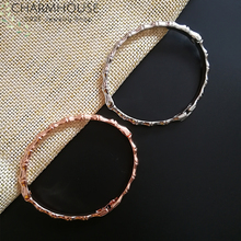 Wedding Bracelets For Women Rose/ White Gold Color GP Bamboo Cuff Bangle Bracelet Wristband Pulseira Bridal Jewelry Bijoux meaeguet punk black gold color removable cuff stainless steel bracelet bangle wristband pulseira feminina jewelry