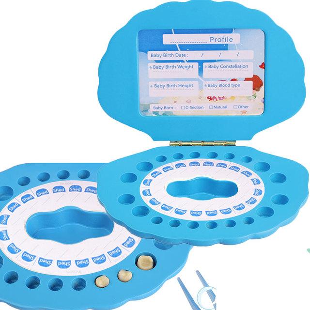Organizador Caixa De dente Para Salvar Os Dentes de Leite Do Bebê Brinquedos De Madeira para Crianças Shell Forma Do Dente Do Bebê Caixa de Presente Para As Crianças CL06612H