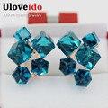 15% Off Venda Quente Grande Flor De Cristal Azul Brincos Em as Orelhas Com Pedras Para As Mulheres Brinco Donna Orecchini Bijuteria GR124