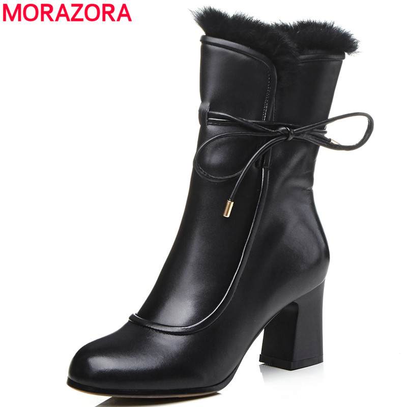 MORAZORA 2018 hot sale ankle boots for women genuine leather boots lace up warm winter boots thick fur high heels shoes ladies цена