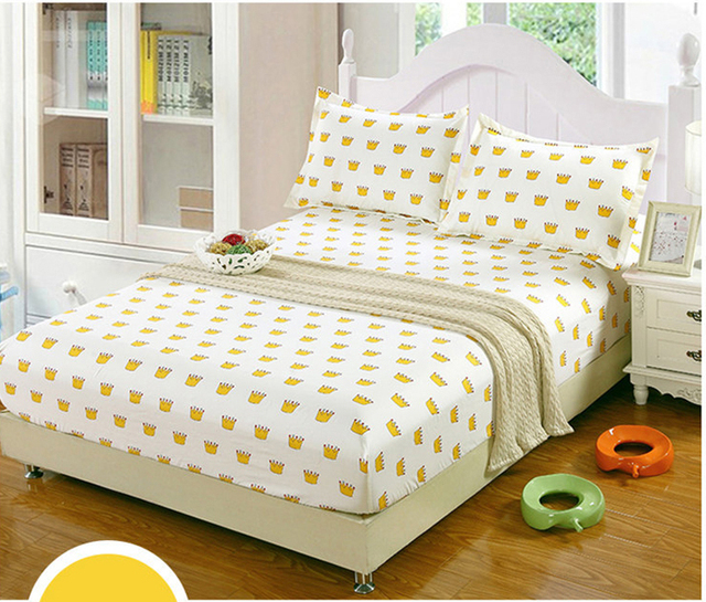 Golden Crown Twin Full Queen Size 1pcs Bed Sheet Fitted Sheet, Bedsheet  Bedding,bed