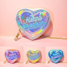 Children Wallet Small Mini Short Wallet Girls Leather Wallet Heart Shape Coin Purse Kids Bling Bling Money Key Bag
