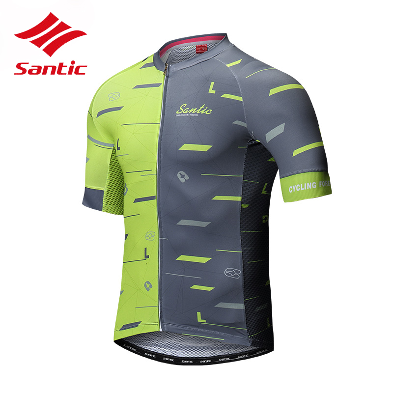 Santic Cycling Jersey Men Short Sleeve Breathable Reflective Quick Dry MTB Bike Bicycle Jersey Top Cycling Clothes Ropa Ciclismo veobike 2017 pro men cycling jersey set breathable mtb clothes quick dry bicycle summer sportswear bike jerseys ropa ciclismo