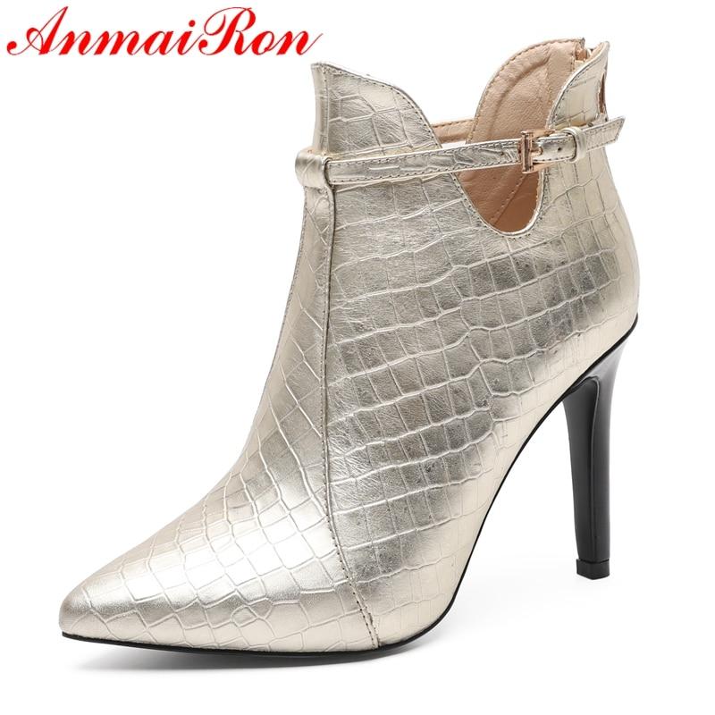 Pour Taille En Mode gold Bottines Black Pointu Anmairon D'hiver À Femme Chaussures Femmes 2018 Base De Cuir 34 Ly246 40 Bout Véritable LzMUVGqSp