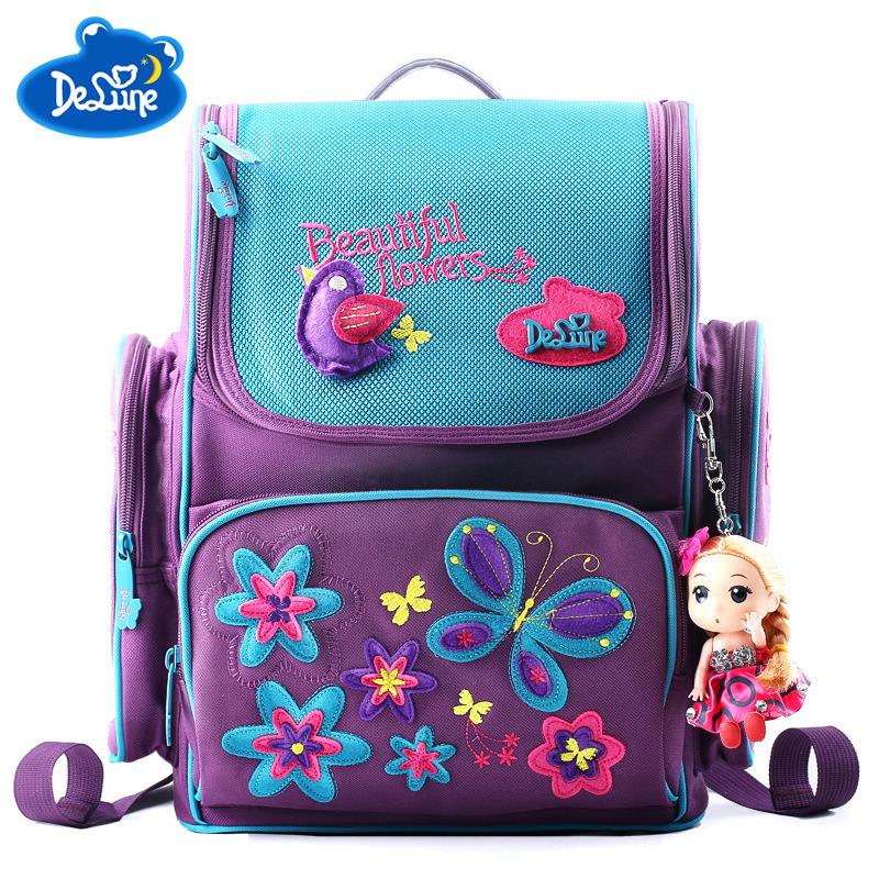 2018 Delune Brand Primary School Bag Kids Girls Orthopedic Cartoon High Quality 3D Schoolbags Grade 1