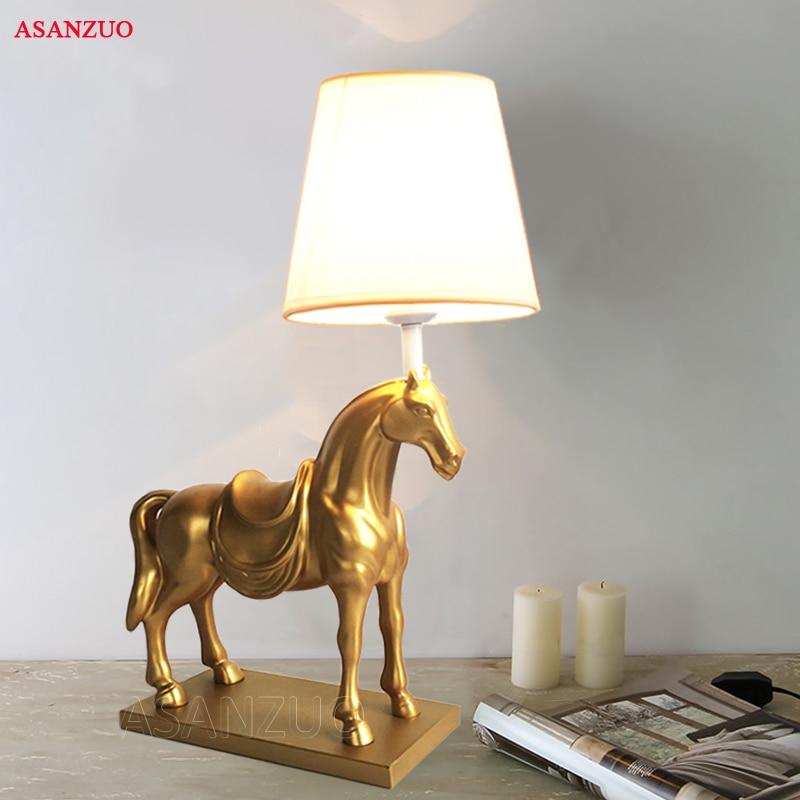 Creative Resin Table Lamp Horse Led Desktop Lamp American Bedroom Living Room Study Deco Desk Lamp 48 8 horse desk horse coffee table wooden home furniture fsc certified