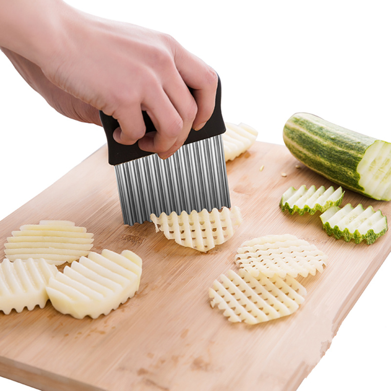 Stainless steel Potato Chip Dough Crinkle Wavy Cutter knife Vegetable slicer potato fries cutting machine kitchen accessories