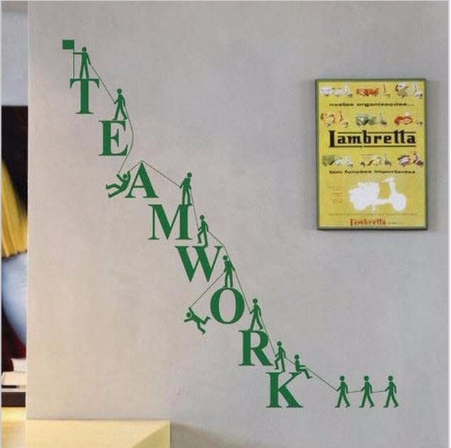 Teamwork office wallpaper. Funny Creative Wall Stickers Room Decor Art Decals Removable Vinyl Wallpaper Cooperate Teamwork Wall Decals For Office Company ...