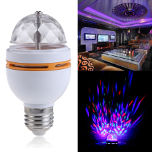 E27 3W Colorful Rotating RGB LED Stage Light Bulb Chrismas Party Voice-activated