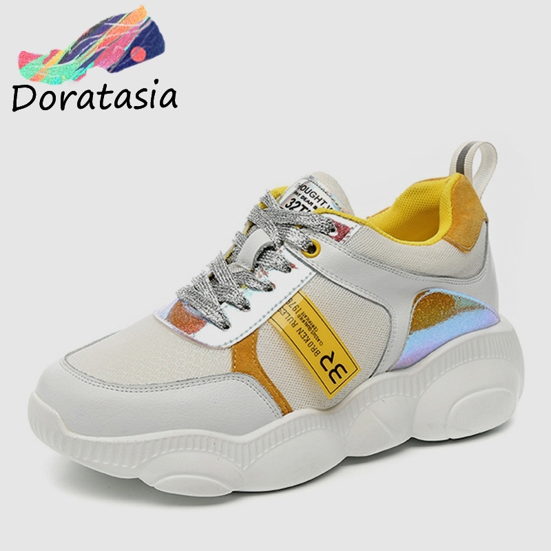 DORATASIA 2019 New INS Hot Colored Women Genuine   Leather     Suede   Sneakers Spring Autumn Girl Fashion Tenis Women Shoes Woman