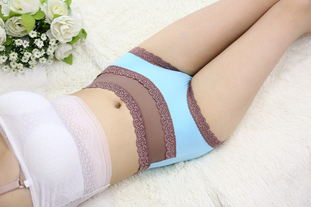 Free Shipping women's underwear high waist cotton lace sexy briefs Color Black Skin Light Purple Blue Green SIZE L XL R1 4