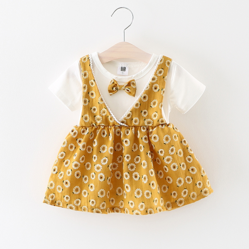 Toddler Dresses Two-Pieces Short-Sleeve Kids Clothing Cotton Summer Print Bow Imitated