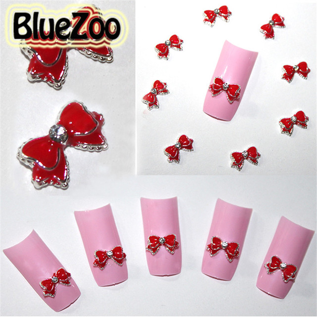 Bluezoo 10pcs Alloy Red Bow Tie Rhinestone Decoration 3d Nail Art