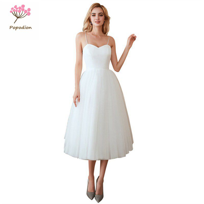 Popodion White Wedding Dress Strapless Bride Dress Beach Wedding Gowns vestido de noiva WED90509