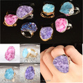 Fashion mix color drusy druzy stone ring, natural crystal quartz stone European style beautiful ring  The best gift
