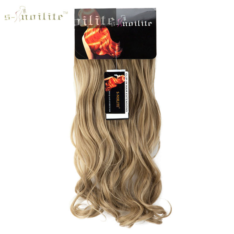 SNOILITE 7pcs 20inch Curly 16 CLips Clip In Hair Extension Synthetic Heat resistant Hairpiece Pure Color