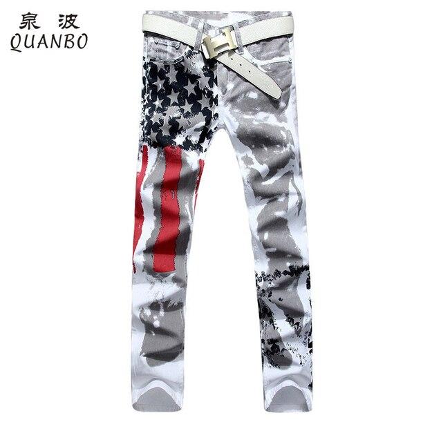 Большой размер 28-48 Бренд мужской брюки 2016 Новый Белый Печатных Мужская Мода Джинсы Тонкий Натяжные Печать Американский флаг Джинсы Hombre